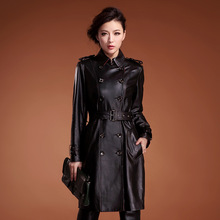 Factory direct supplier Direct supply from factory Genuine leather Double-breasted Windbreaker Fashion Women spring new style(China (Mainland))