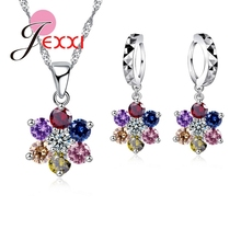Exquisite Multi Color Cubic Zirconia Flower Pendant Necklace Crystal Drop Piercing Earrings 925 Sterling Sivler Jewelry Sets(China (Mainland))