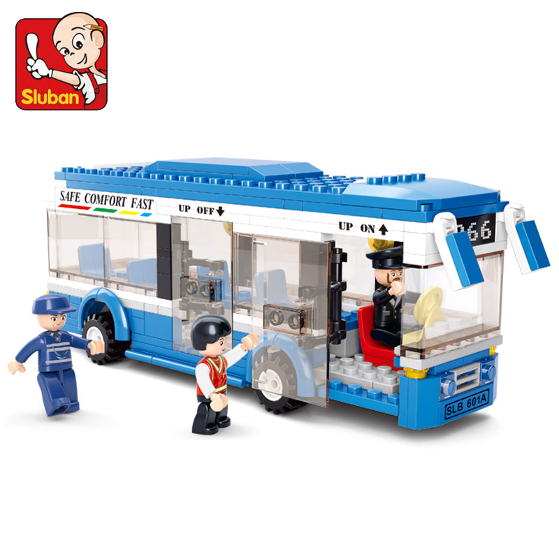 Sluban City Bus Assembled Monolayer Building Blocks DIY toys Educational toys for Children Compatible with Lego(China (Mainland))