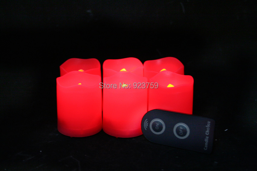 Candle Choice Set of 6 Red Plastic Flameless LED Votive Candles with Remote(China (Mainland))