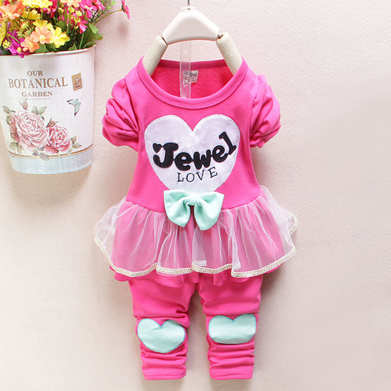 Baby Girl Clothing Set Children Bow Cute Suit 2PCS Kids Twinset Dress Top+Pants Leggings baby kids suits Infant Gifts retail(China (Mainland))