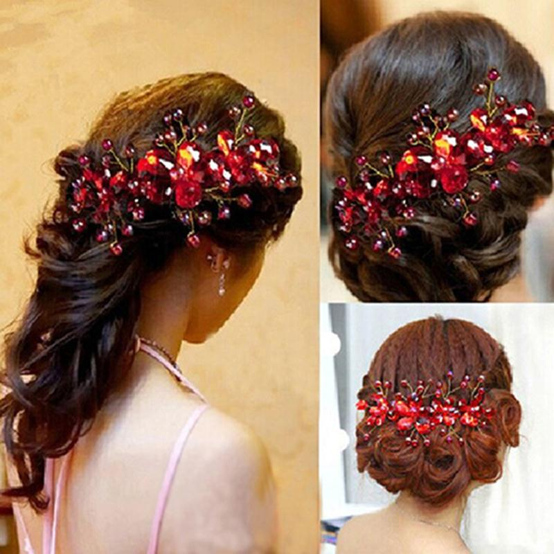 New Design Chinese Red Flower Wedding Bridal Hair Jewelry Party Handmade Hair Pin Hair Accessories for Women(China (Mainland))