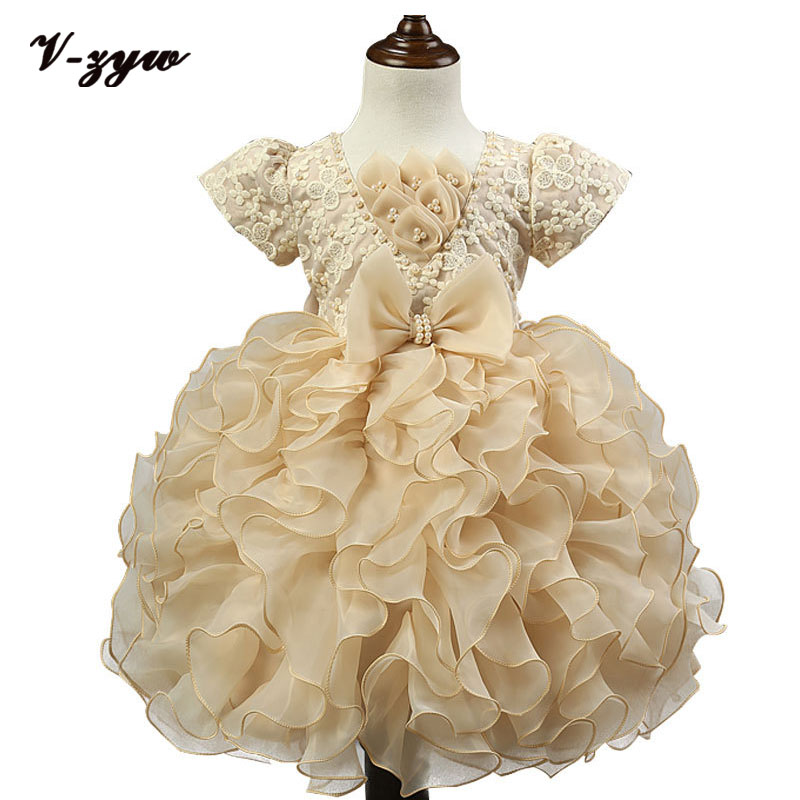 New 2016 Flower Girl Christening Wedding Party Pageant Dress Baby First Communion Dresses Toddler Gowns Child Bridesmaid Dress<br><br>Aliexpress