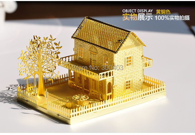 metal diy 3d mini villa decoration assembling building