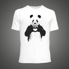 Hip Hop Men Tee Shirt Cute Love Heart Panda Printed T Shirts Casual Tops O-Neck short sleeve Hipster tee shirt homme de marque