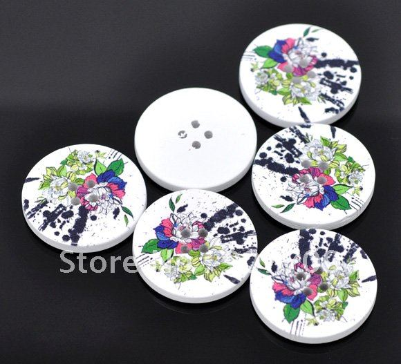 Free shipping 500 Flower 4 Holes Wood Sewing Buttons Scrapbooking 30mm 11052 Diy Fashion Clothing accessories