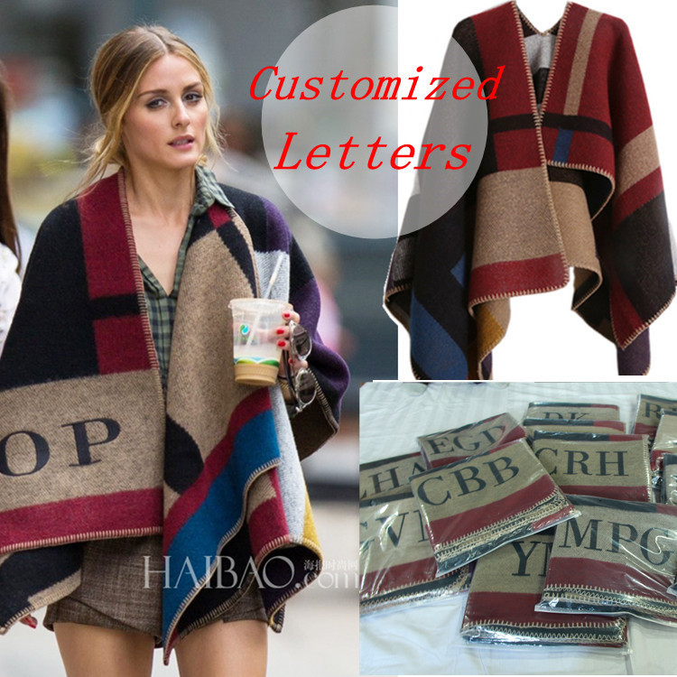 Brand Women Poncho Prorsum Cashmere Wool Scarf Monogramed Poncho Prorsum Cape Plaid Winter Check Blanket Poncho bufanda manta(China (Mainland))