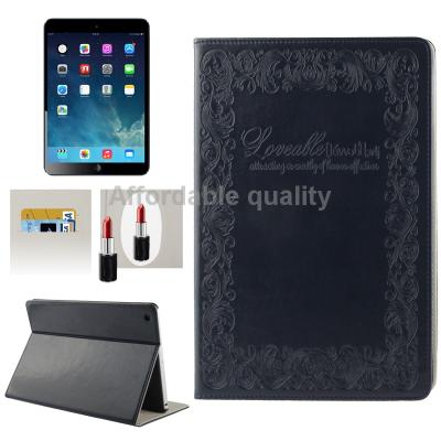 Гаджет  Embossing Decorative Pattern Flip Leather Case with 2-gear Holder   Credit Card Slots   Mirror / Wake up for iPad Air (Blue) None Изготовление под заказ