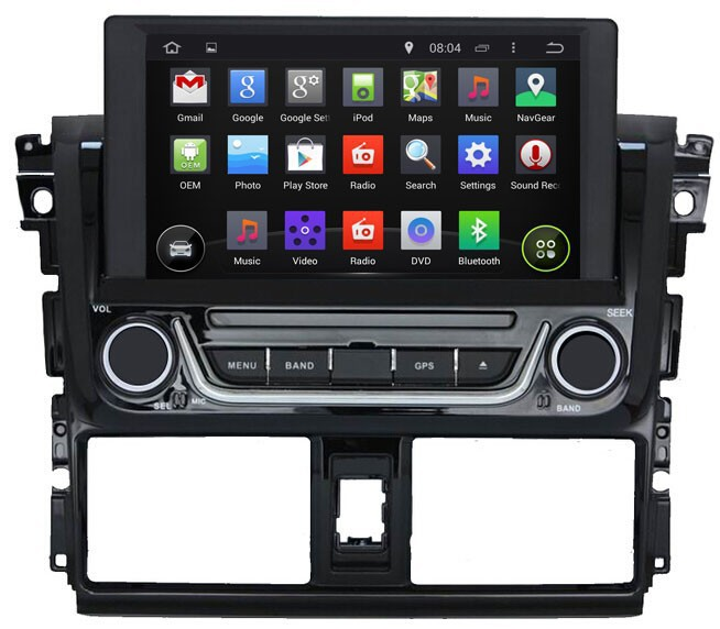 Quad Core HD1024*600 Android 4.4.4 For Toyota Yaris 2014 GPS Navigation System with Radio Stereo Bluetooth DVD WIFI 3G 16G(China (Mainland))