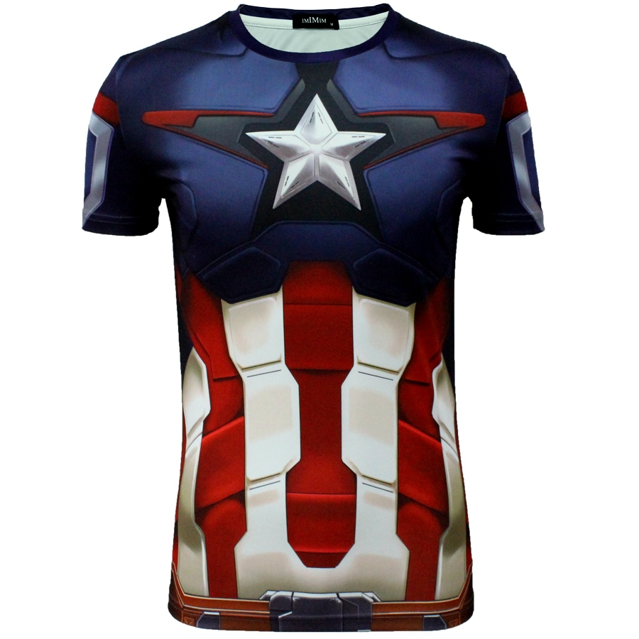 Men Summer Short Sleeve T-shirt Marvel DC Comics The Avenger 2 The age of Ultron Captain America Cosplay Tops Muscular Bulid Tee(China (Mainland))