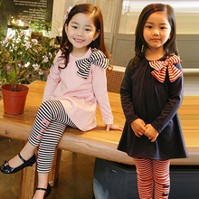 2016 New Fashion Girls Clothing Girl Sets for Baby Girls Bow On blouse+Striped Leggings Suit Autumn Winter Clothes(China (Mainland))