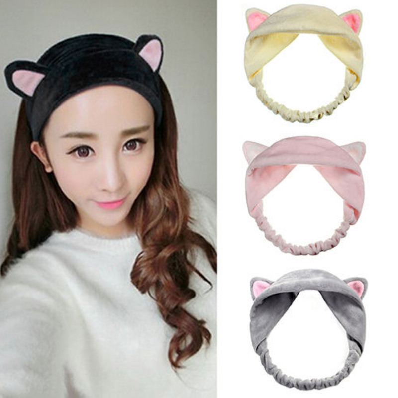 2017 Wholesale New Women Girls Cute Cat Ear Cloth Headband for Washing Face Hair Band Fashion Hair Jewelry Accessories(China (Mainland))