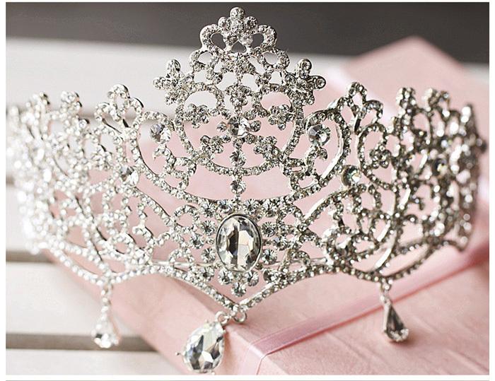 fine jewelry Luxury bride wedding crown Diademe hair jewelry bijoux women Tiara Headband head crystal snowflake hair accessories(China (Mainland))