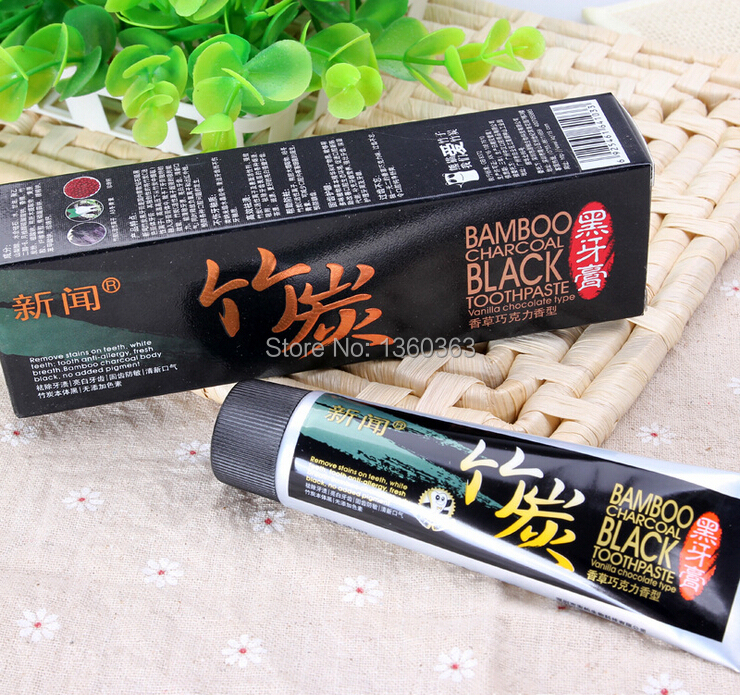 Bamboo charcoal teeth whitening & black toothpaste scouring insect-resistant eat by moth (vanilla chocolate scent) 60 g