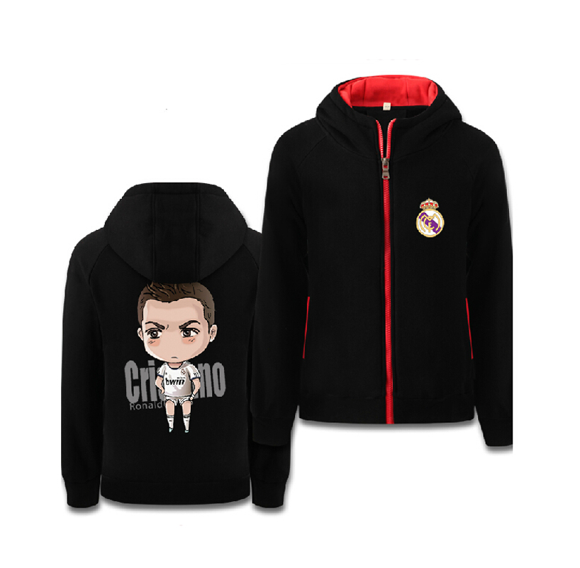 Football Sweatshirt Critiano Ronaldo Zipper Men Popular Hoodies Winter Color Black Grey