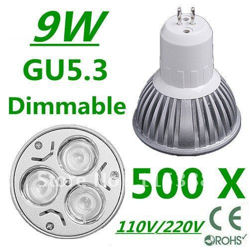 500pcs Dimmable High power GU5.3 3x3W 9W 110V/220V led Light Lamp Downlight led bulb spotlight Free shipping UPS FEDEX and DHL