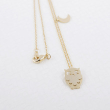 Hot Sale 2016 Fashion Jewelry Gold Sliver Owl Moon Necklace Chains Statement Long Necklace Animal Choker Necklaces For Women(China (Mainland))