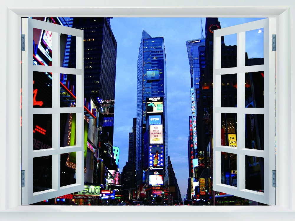 Times Square Night Lights Manhattan New York City BW Fake Windows Art Huge Print Poster TXHOME W03233(China (Mainland))