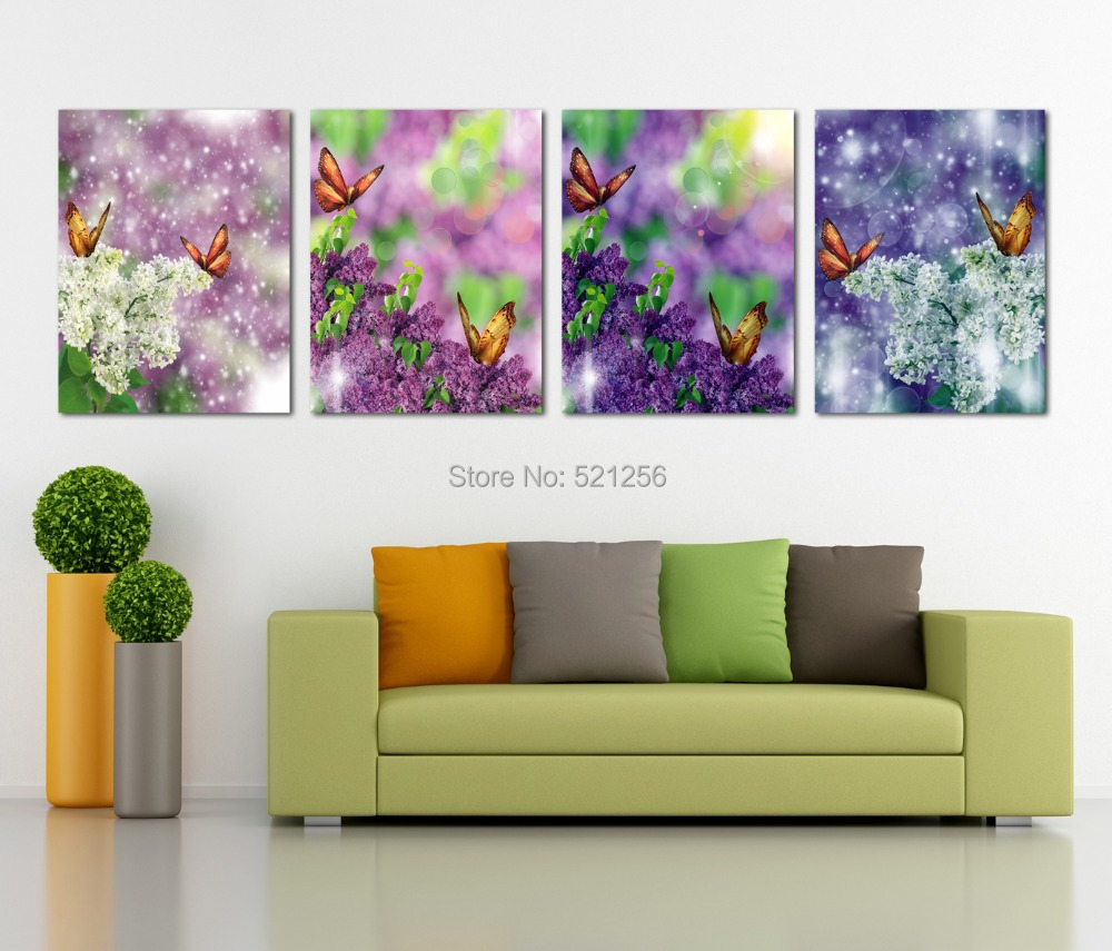 Modern Wall Art Home Decoration Printed Oil Painting Pictures No Frame Canvas Prints 4 Panel Osmanthus Fragrans with Butterflies(China (Mainland))