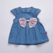 Новорожденных девочек dress 2017 дети солнечный dress denim ребенка летом платья для девочек детские принцесса платья с бантом младенческой девушка одежда(China (Mainland))