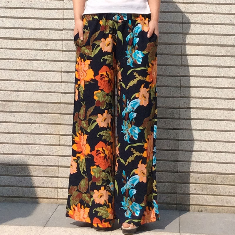 Women's Female Loose Casual Floral Printed Full Length Bottoms Pockets Leisure Flat Pants Wide Leg Trousers One Size(China (Mainland))