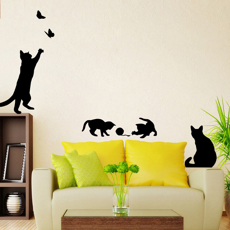 3D Wall Stickers For Kids Vinyl Walls Living Room Baby Kids Room Decoration Nursery Decals Wall Art Bathroom Poster Cute Cats(China (Mainland))