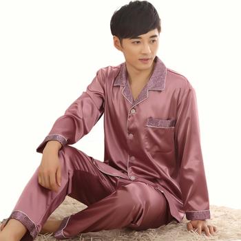 Новое поступление мужской шелковые пижамы , установленные для весна осень длинные ...
