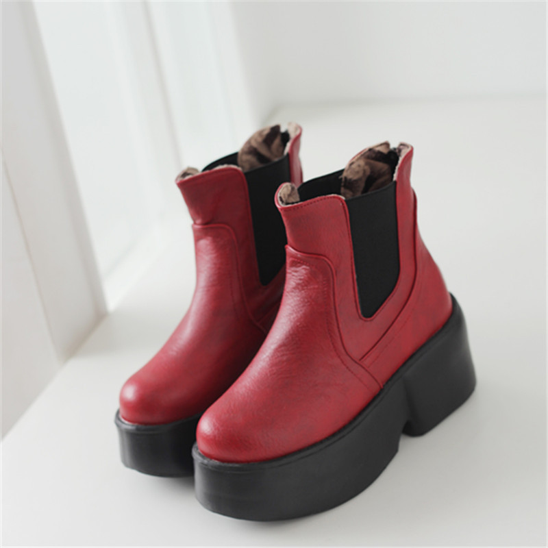 2015 winter new slip-on soft leather solid platform ankle women boot high heel women boots comfortable and warm women bootsE3731<br><br>Aliexpress