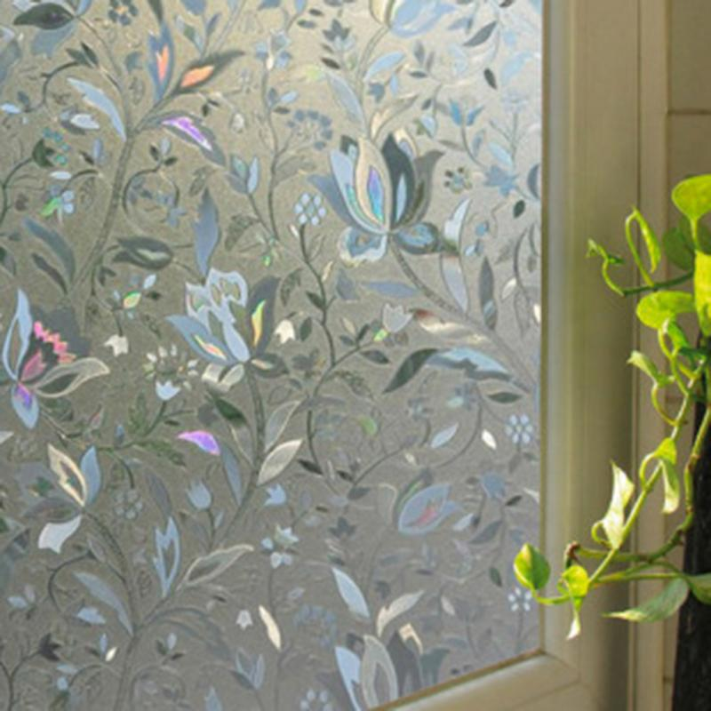 Recyclable Frosted Glass Stickers Home Window Film 3D Wallpaper Flower Sticker Room Decorative Poster Roll 45x100cm(China (Mainland))