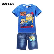 Retail Children's suit despicable me 2 minion 2016 new boys Clothing Set Kids t-shirt+jeans cartoon clothes Sports suit(China (Mainland))