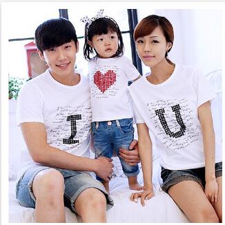 2015 семья мода лето семья облачения футболка соответствия семейные одежда для матери дочь и отец D1031