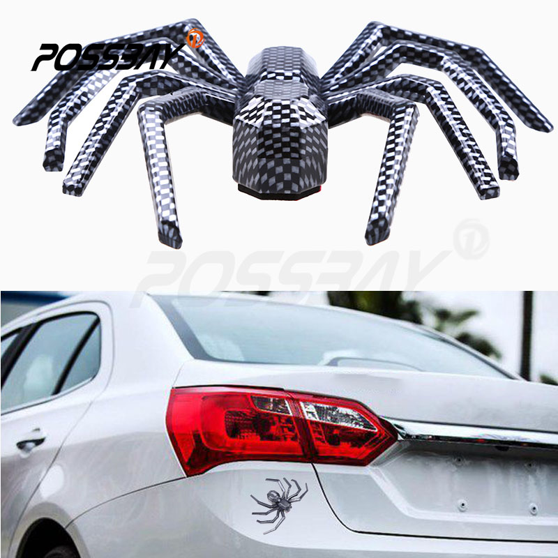 2016 New Car Styling DIY 12.2*8.1cm Car Stickers 3D Car Carbon Fiber Spider Sticker And Decals Universal Car Window Side Decor(China (Mainland))