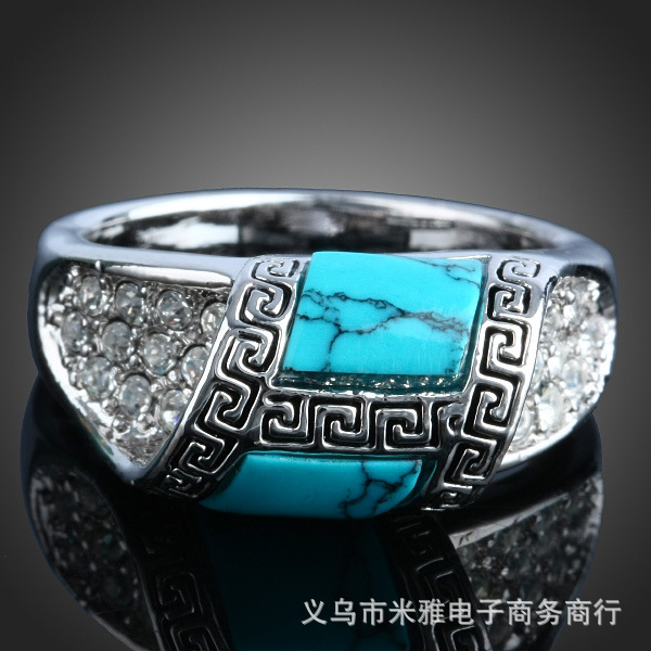 Fine jewelry vintage Bohemia Turquoise Stone crystal inlaid ring silver plated Rings for women New Sale free shipping R084(China (Mainland))