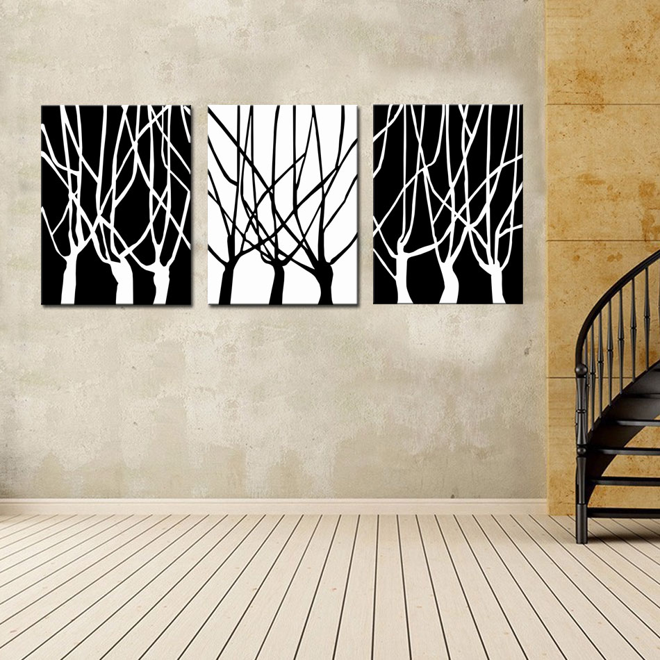 3 picture combination black and white of tree wall art for Modern black and white wall art