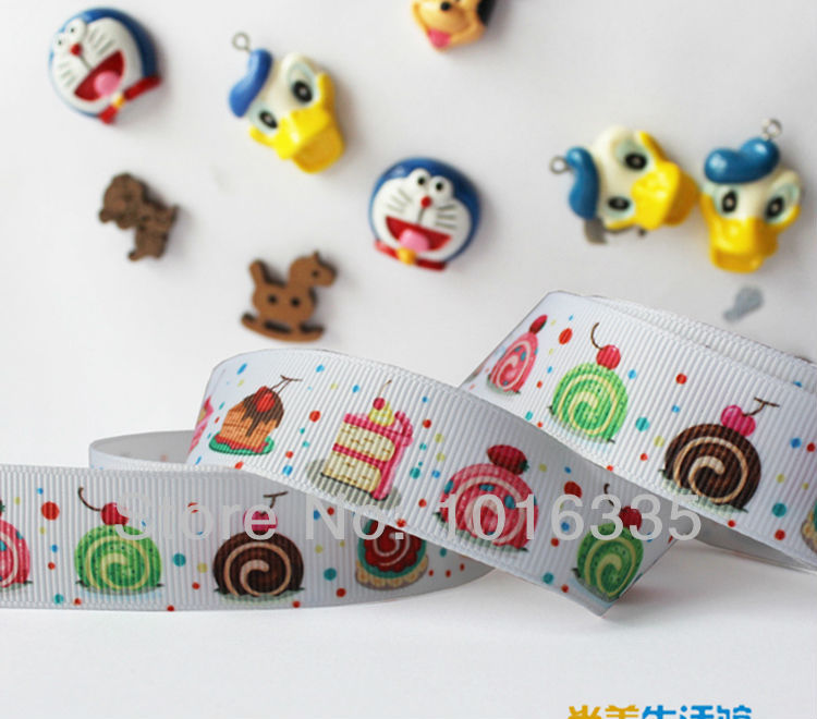"""2014 new arrival 22mm (7/8"""") Fruit cake design printed grosgrain ribbon Gift wrapping cute ribbon hair accessories(China (Mainland))"""