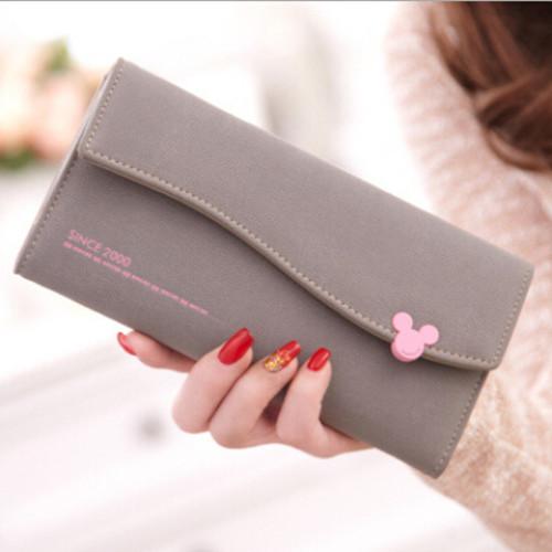 Гаджет  2015 Korean Fashion Women  Wallets Two-fold Big Capacity  PU Leather Long Lady Purse Bill Clip LP-05 None Камера и Сумки