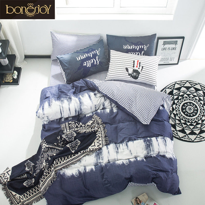 Bonenjoy Flower 100% Egyptian Cotton Duvet Cover King Size Kids Cotton Bedspread Bedding Set White Pillow cover Bed Sheets Set(China (Mainland))