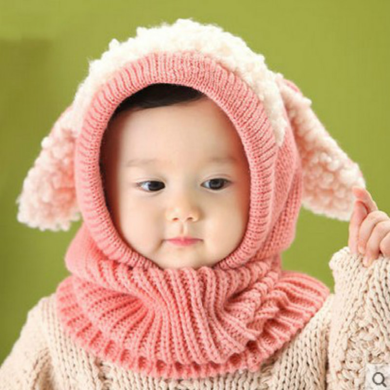 baby hat Toddler Kids Girls Boy Hats Coif Hood Kintted Woolen Scarves Caps Winter Warm Cap baby lamb fur hats adorable red pink(China (Mainland))