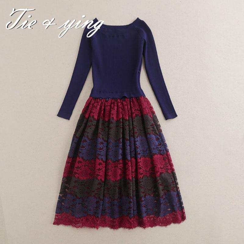 Runway gown women midi dress 2016 spring new American and European fashion runway luxury knitting  lace elegant casual dresses
