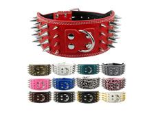 2inch רחב 12 צבעים קוצים חדים משובץ קרן ציפורניים עור הכלב קולרים עבור הכלב מסטיף יותר גזעי