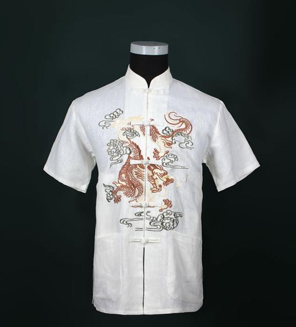 Бесплатная доставка! продажа белый китайская традиция стиль мужская дракон рисунок ...
