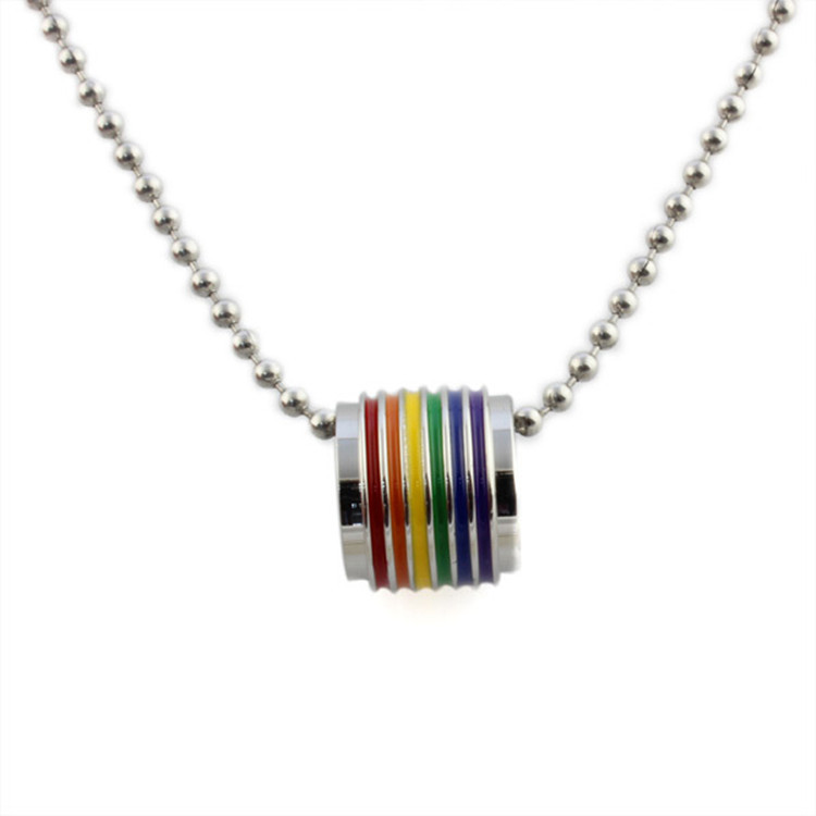 Fashion Multicolor Gay Pride Jewelry Stainless Steel Rainbow Pendant Necklace Charm Jewelry for Women(China (Mainland))