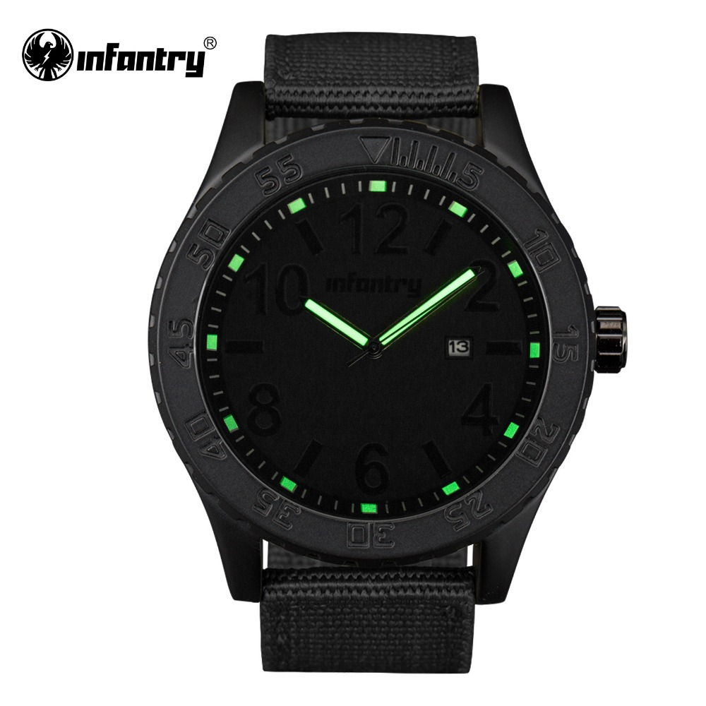 INFANTRY Mens Watches Quartz Military Luminous Luxury Brand Watch High Quality Durable Fabric Strap Black Relogio Masculino 2016(Hong Kong)