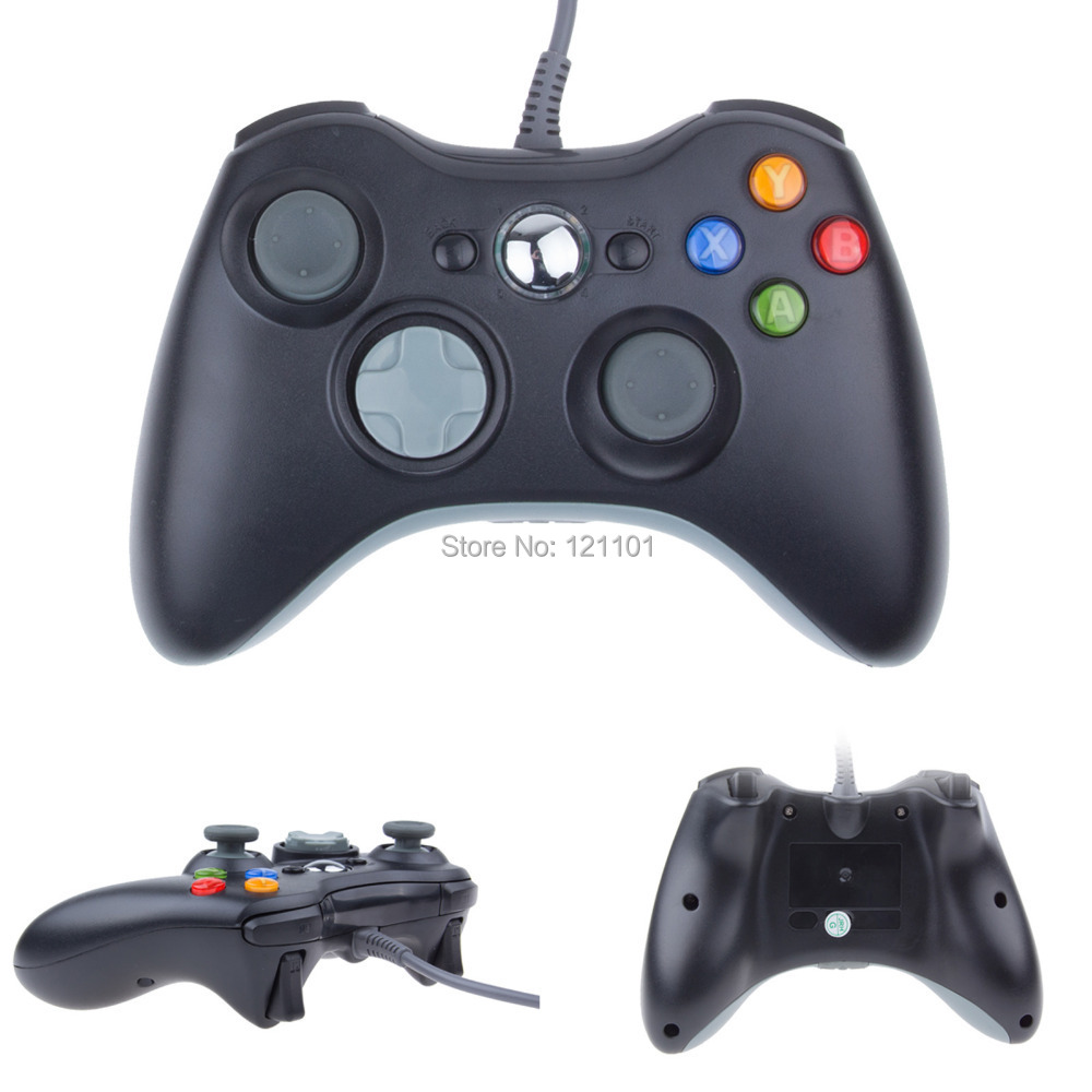 New Black White USB Wired Gamepad Controller For MICROSOFT Xbox 360 & Slim PC Windows Free Shipping(China (Mainland))