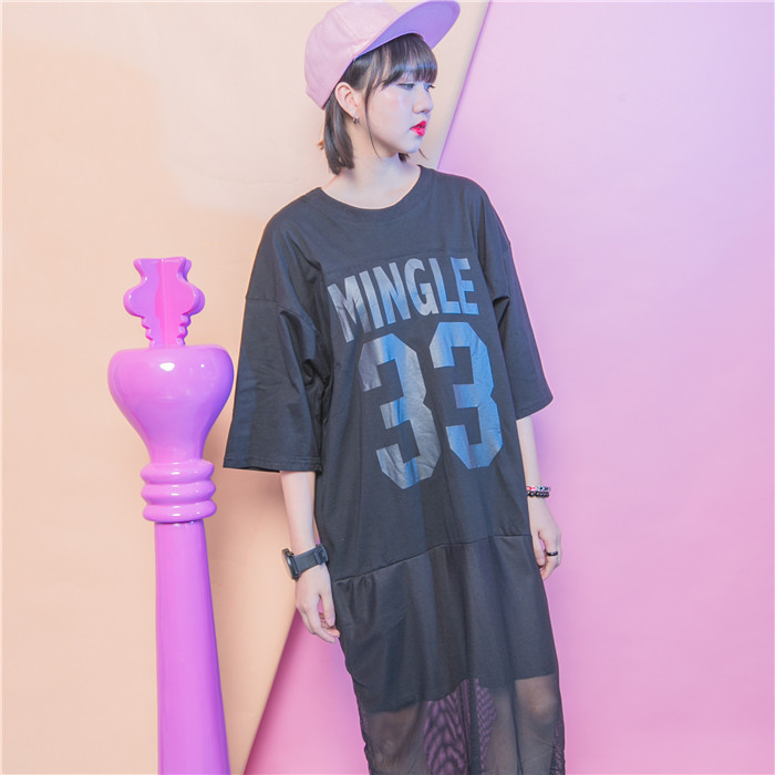 Fashion plus size clothing patchwork color block 33 letter print cutout network of the fifth sleeve one-piece dress(China (Mainland))