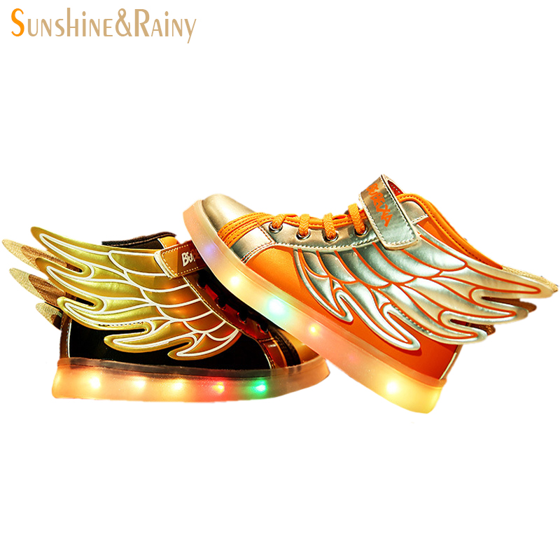 Hot Sale New 2016 Fashion Wings Children Sneakers Gold Black Sequined Kids Light Shoes High Top Boy Girl Luminous Led Shoes(China (Mainland))