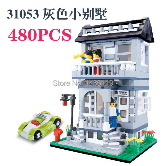 DIY Christmas gift Enlighten Child 31053 educational toys WANGE Villa House toys building block sets,children toys free Shipping(China (Mainland))