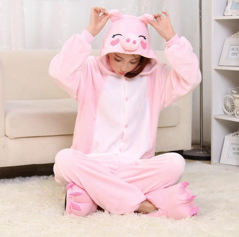 2015 Halloween Costumes Adult Unisex Adult Pajamas Adult Animal Pyjama Sets pink pig Cartoon Onesies Cosplay Costume Sleepwear(China (Mainland))
