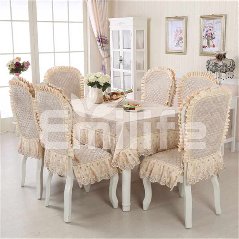 Embroidered Lace Table Cloth On The Table Gold Rectangular Jacquard Mantel Chair Cover Set For Wedding Ding Living Decor 45()