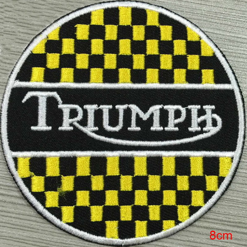 Triumph silver metallic custom logo patch iron on cloth hat or bag free shipping can be custom embroidery factory in china(China (Mainland))